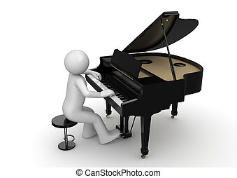 Pianist - 3d isolated on white background characters series