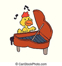 Pianist chicken - yellow chicken.Vector illustration