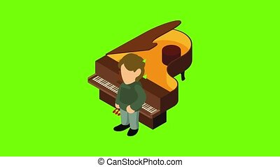 Pianist icon animation cartoon best object on green screen background