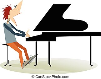 Pianist man isolated - Pianist is playing music and singing...