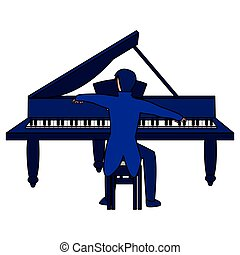 pianist playing piano character vector illustration design