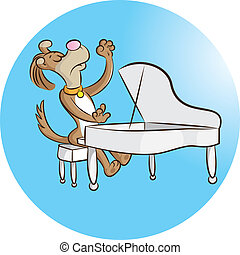 pianist - vector illustration of a dog playing piano