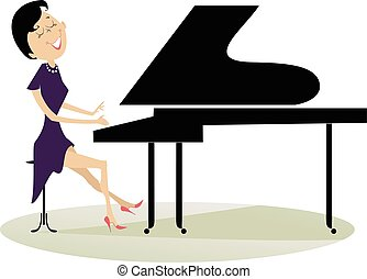 Pianist woman - Pianist is playing music with inspiration