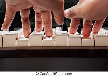 piano, ángulo, juego, bajo