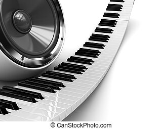 piano, áudio, orador