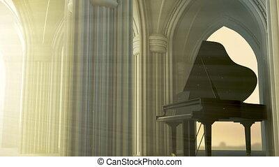 piano, église, gothique, grandiose