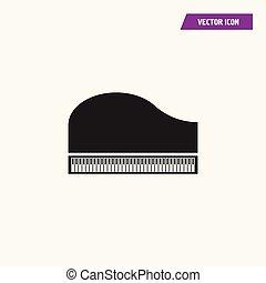 piano, ícone, grandioso, símbolo., teclado
