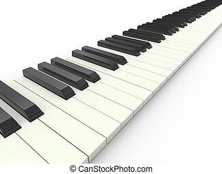 piano, 3d, teclado