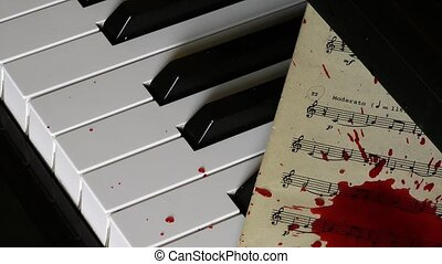 Piano and blood drops on music sheet