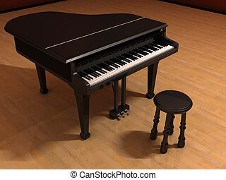 Piano and chair on stage - rendered in 3d
