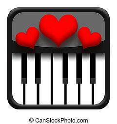 Piano and hearts