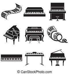piano and keys icons set