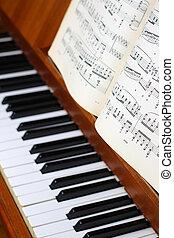 Piano and music sheets
