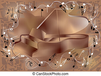 piano and notes - Piano and notes. Abstract musical...