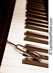 Piano and tuning forl - Tuning fork on top of piano keys in...