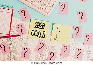 piano, anno, testo, goals., venuta, carta, foto, 2020,...