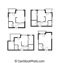 piano, architetto, costruzione, set, mobilia, vettore, disegno, appartamento