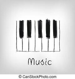 Piano art - hand made piano keys illustration