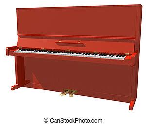 piano, branca, isolado, vermelho