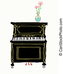 Piano card hand drawn illustration - cute design