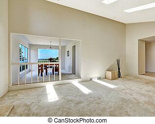 piano, casa, room., vuoto, pavimento, vivente, cenando