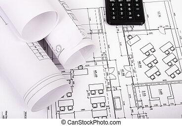 piano, cianografie, architettura, in crosta