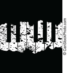 Piano keys on a black background. A vector illustration