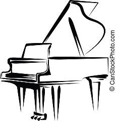 piano - Simple vector illustration of a grand piano