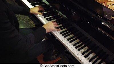 piano, club, épaule, nuit, son, jouer, -, mains, droit