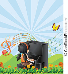 piano, colinas, menina, tocando