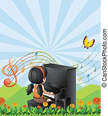 piano, collines, girl, jouer