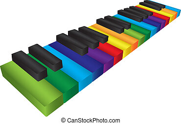 Piano Colorful Keyboard 3D Illustration