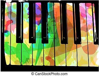 piano, coloridos, ilustração
