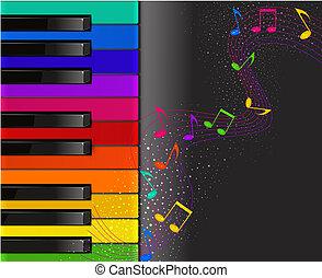 piano, coloridos, musical, teclado, pretas, bac, notas