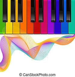 piano, coloridos, teclado, fundo, branca