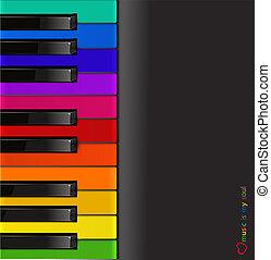 piano, coloridos, vetorial