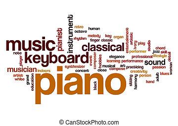 piano, conceito, palavra, nuvem