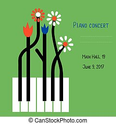 Piano concert design of banner with keys and flowers