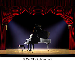 Piano Concert - Piano on theatre stage with red curtain and...