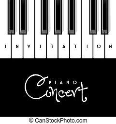 piano, concerto, convite