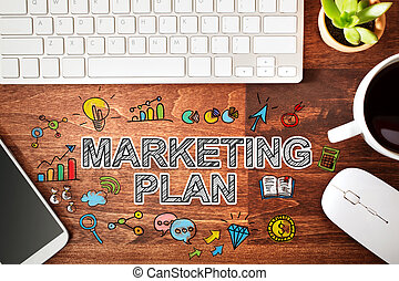 piano, concetto, marketing, workstation