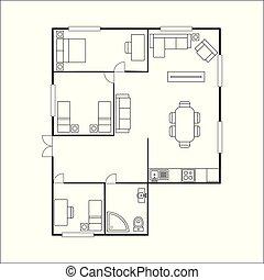 piano, costruzione, isolato, mobilia, fondo, bianco