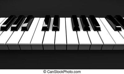 piano, czarne tło, klawiatura