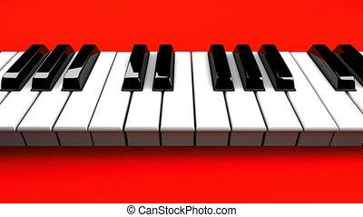 piano, czerwone tło, klawiatura