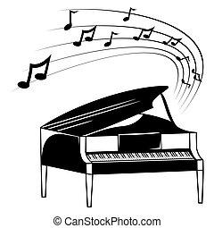 piano, e, notas música