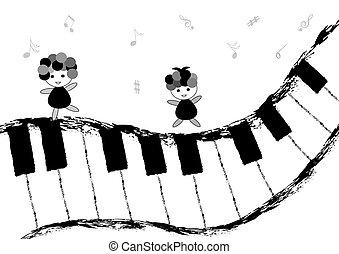 piano, enfants, clavier