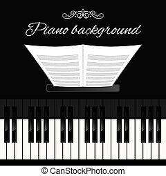 piano, fond, clavier