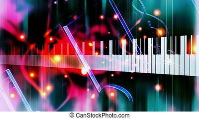 piano, fond, musique, faire boucle