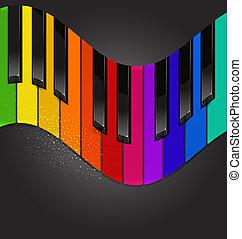 piano, forma, coloridos, pretas, teclado, ondas, b