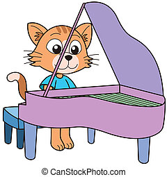 piano, gato, tocando, caricatura